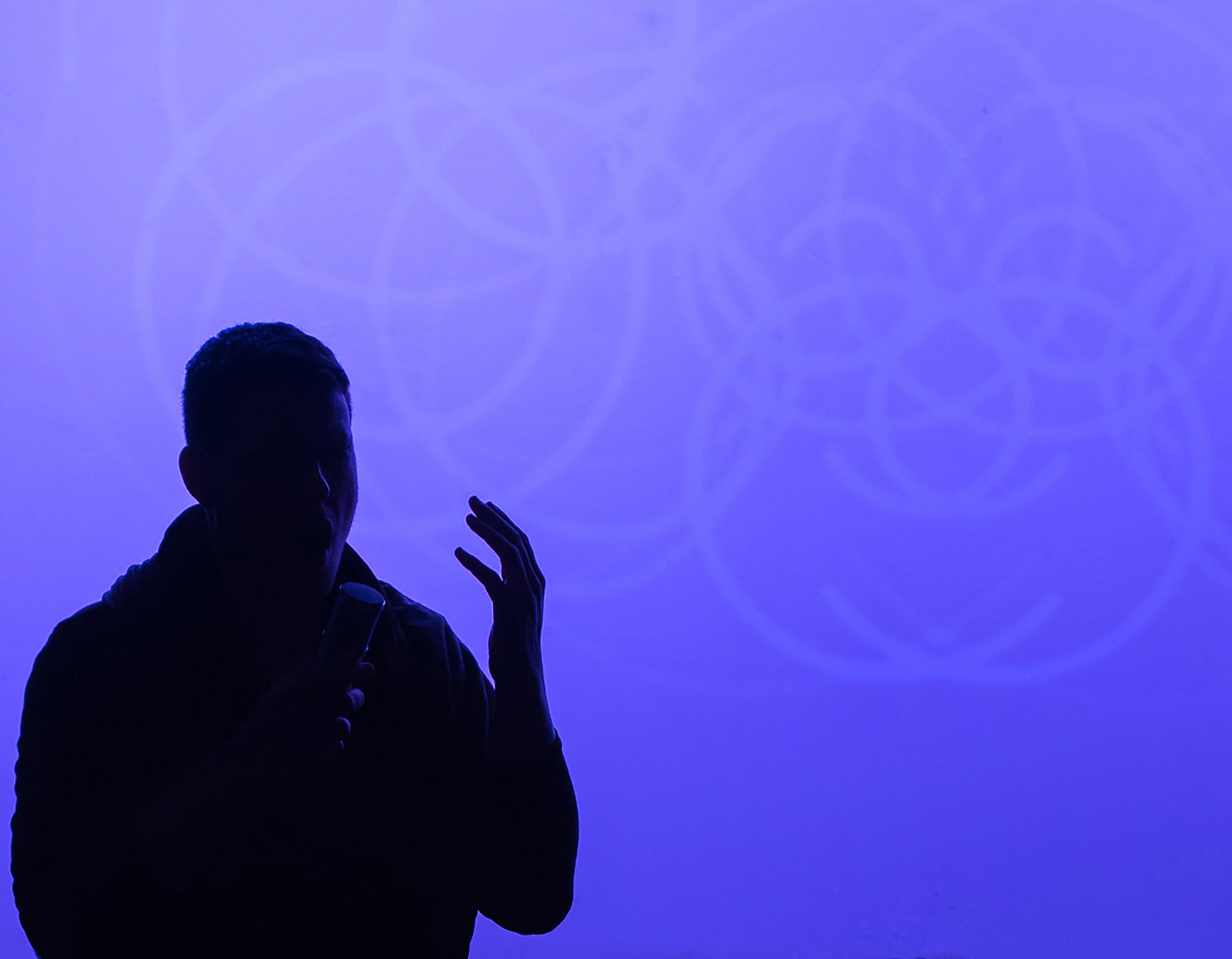 Randy Gibson singing *Apparitions of The Four Pillars in The Midwinter Starfield Symmetry under The 72:81:88 Confluence* in a setting of *Quadrilateral Starfield Symmetry A:L Base 11:273 in The 181 Profusion* at the 2016 Avant Music Festival